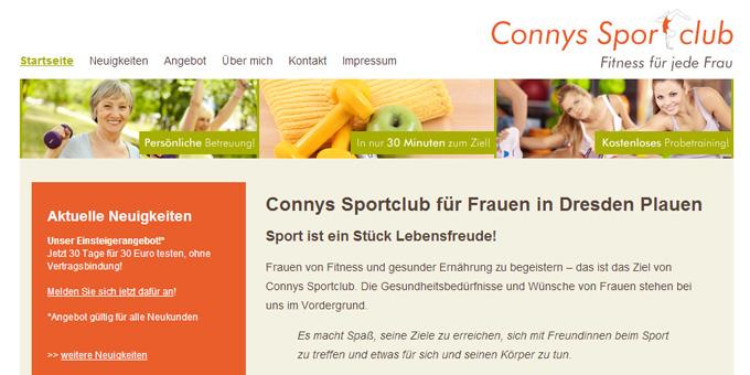 Ausschnitt eines Screenshots der Startseite - Webseite für eienn Sportclub