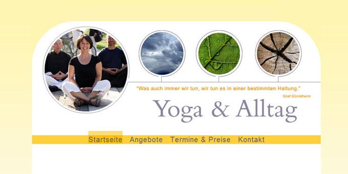 Screenshot der Startseite - Webseite für eine Yogalehrerin